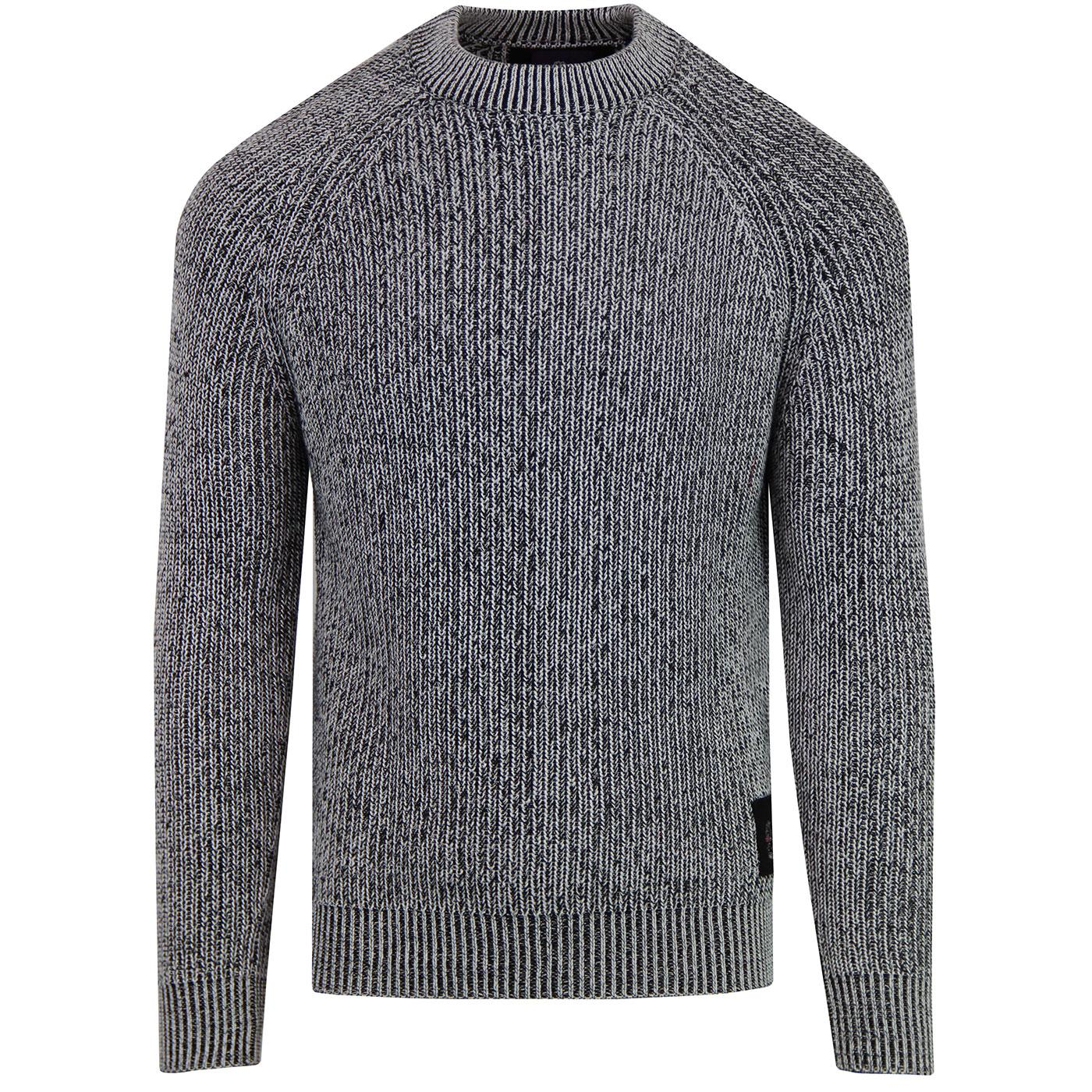 Plated LUKE Retro Ribbed Fisherman's Jumper -Black