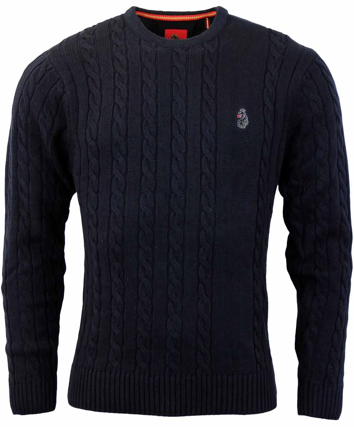 LUKE 1977 Retro Horton Mens Cable Knit Mod Jumper In Dark Navy 223dbc3e2