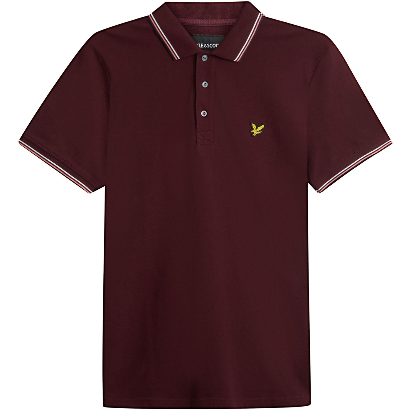 LYLE & SCOTT Mod Tipped Pique Polo Top (Burgundy)
