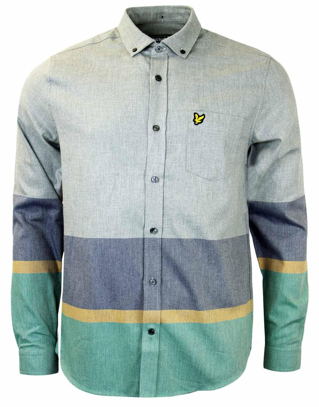 Lyle Scott Retro Mod Archive Stripe Twill Shirt In Light Grey