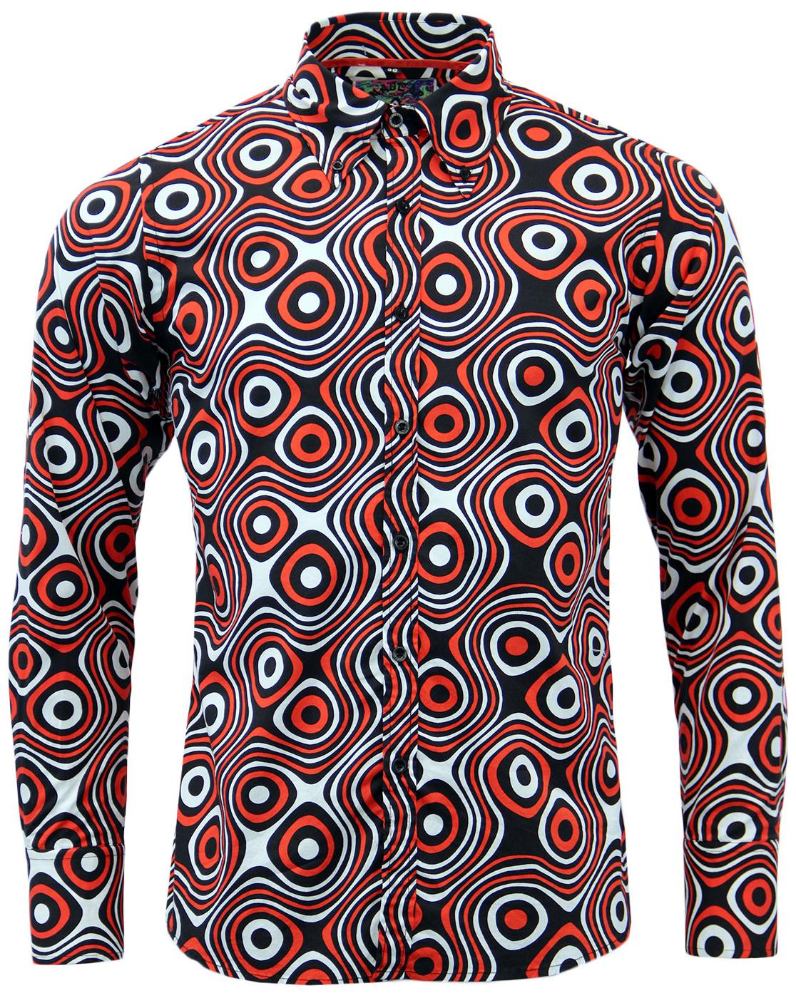 Trip Op Art MADCAP ENGLAND Mod Big Collar Shirt