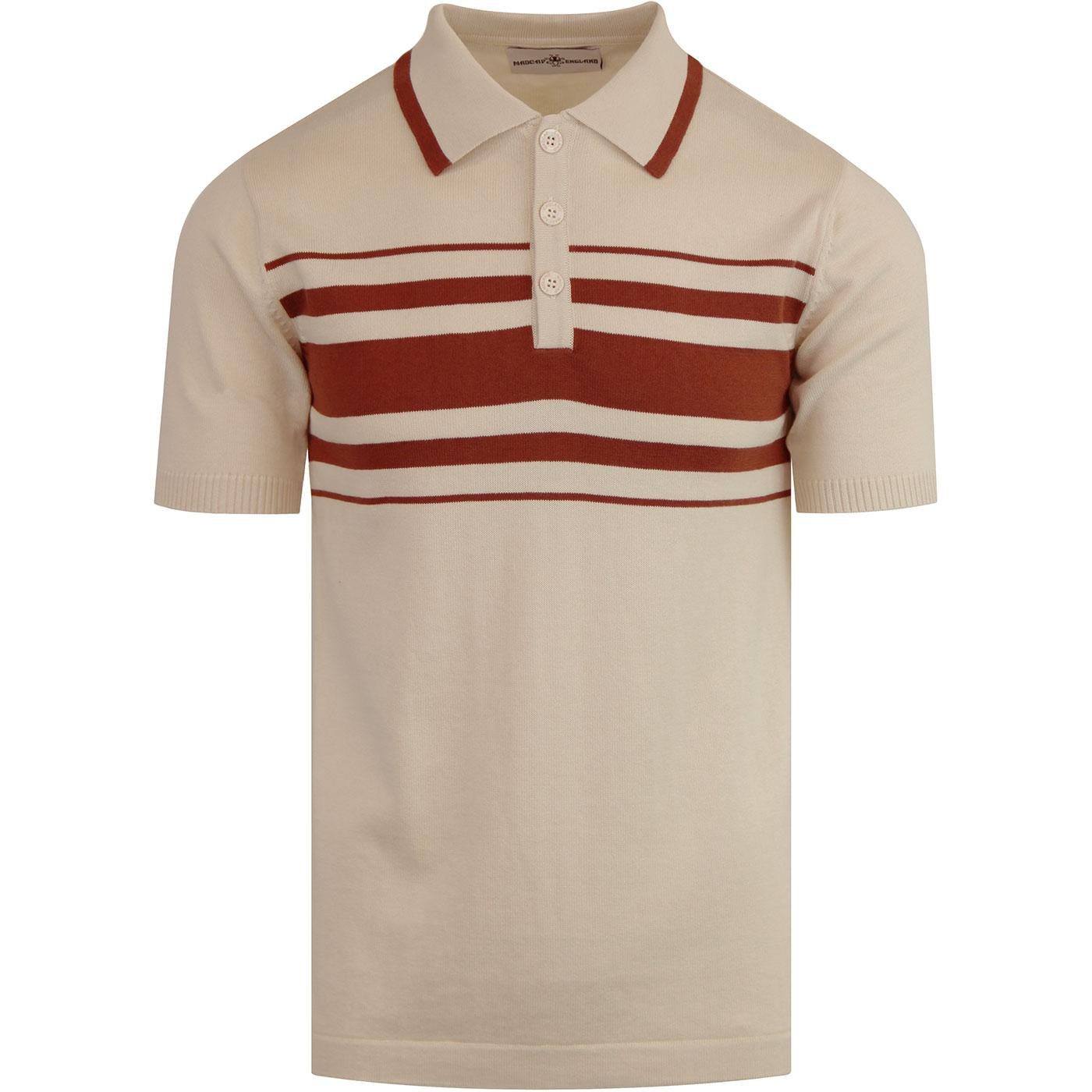cbce27c89ea MADCAP ENGLAND Aftershock 60s Mod Stripe Knit Polo Birch
