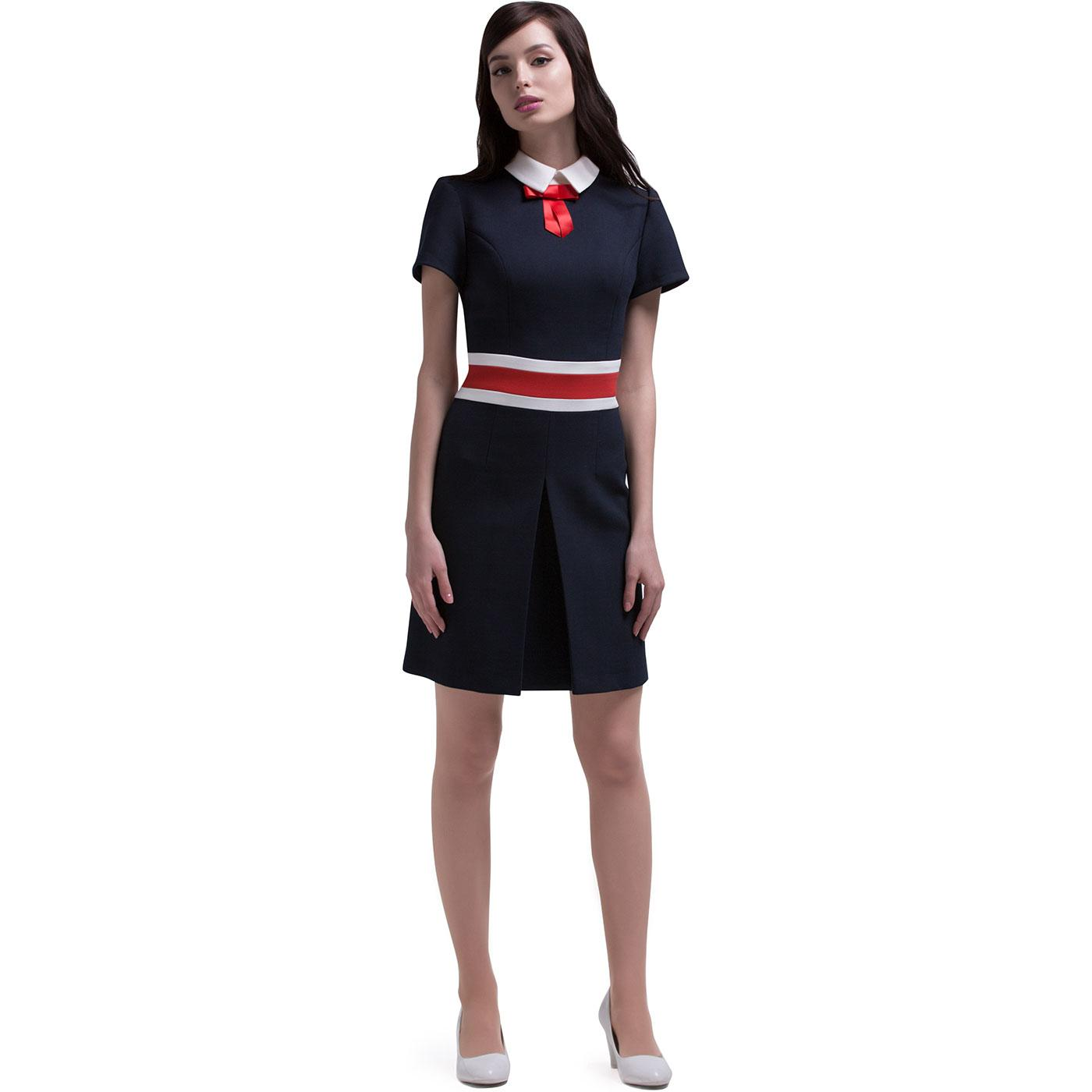 MARMALADE 60s Mod Contrast Stripe Collared Dress