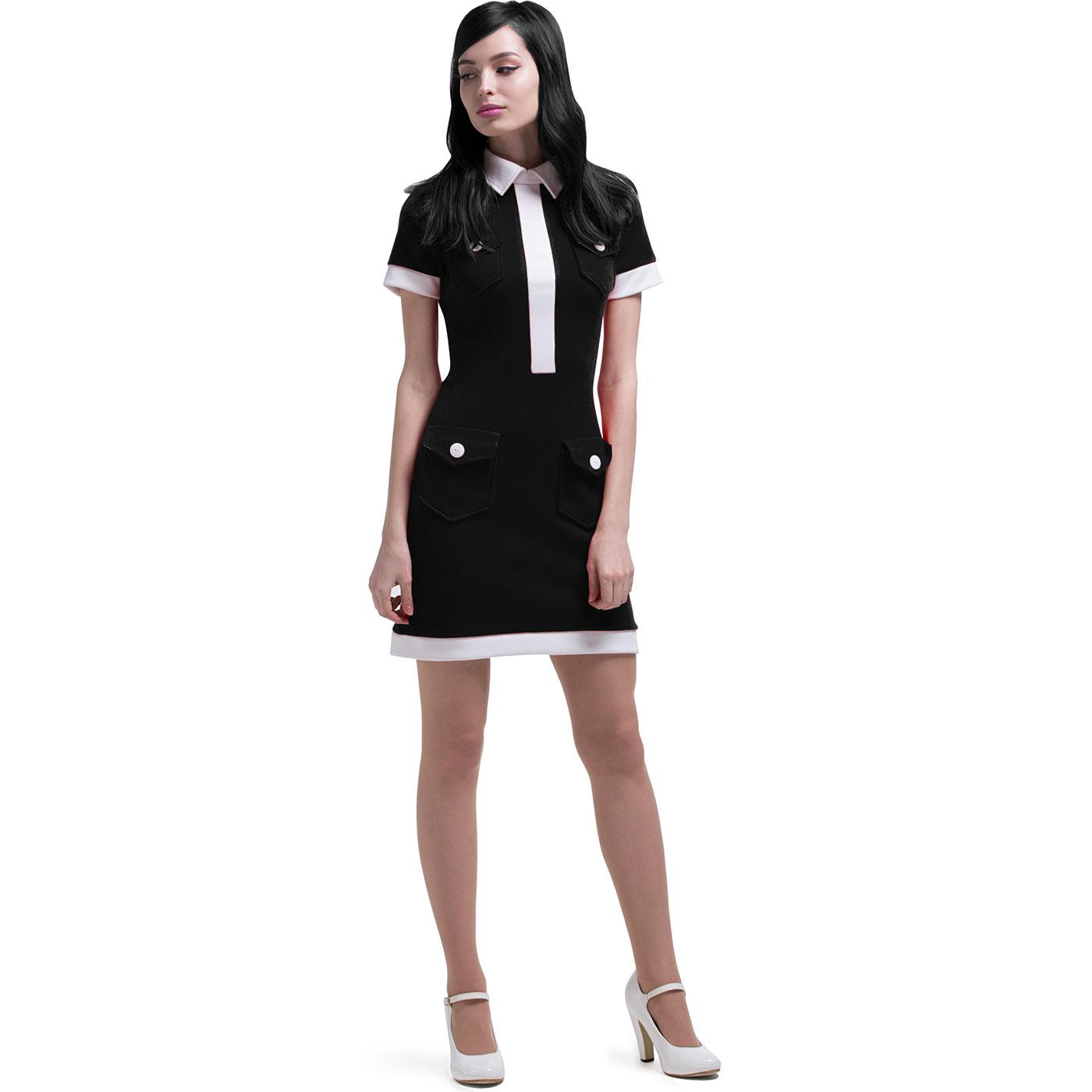 MARMALADE Retro 60s Mod Military Pocket Dress Blk