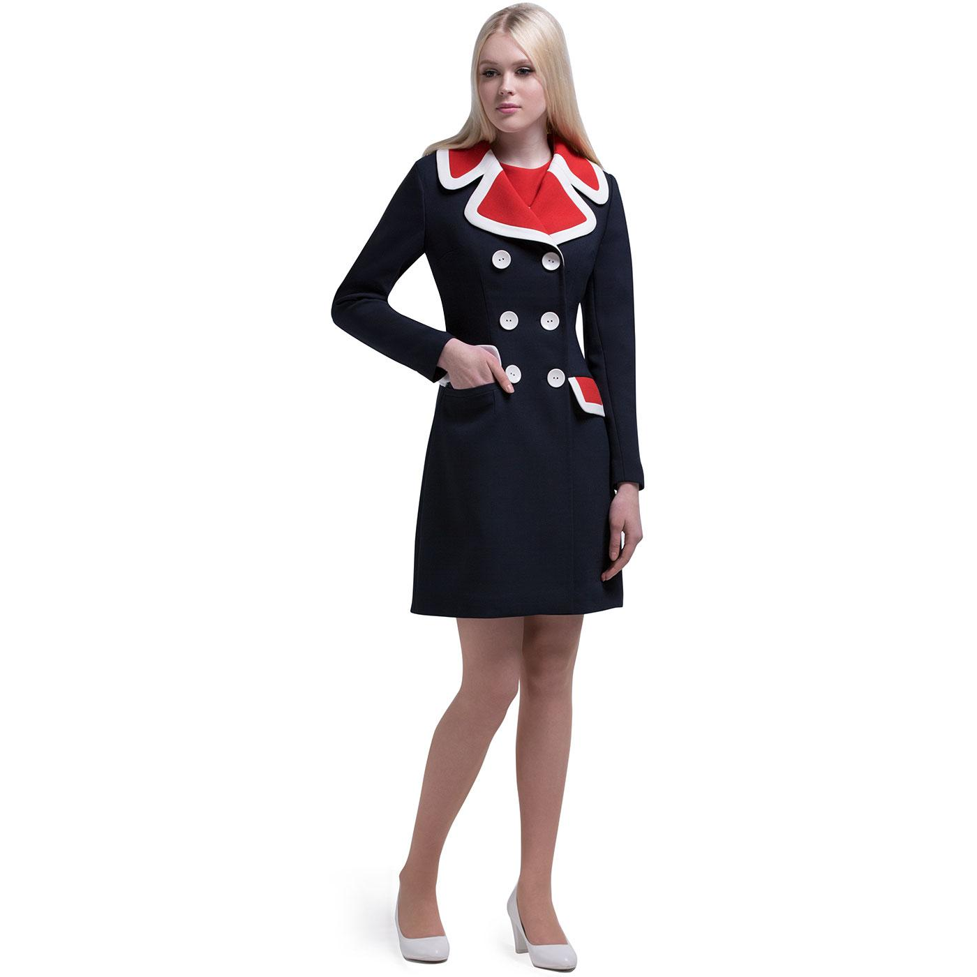 MARMALADE Mod Double Breasted 2-Tone Collar Coat