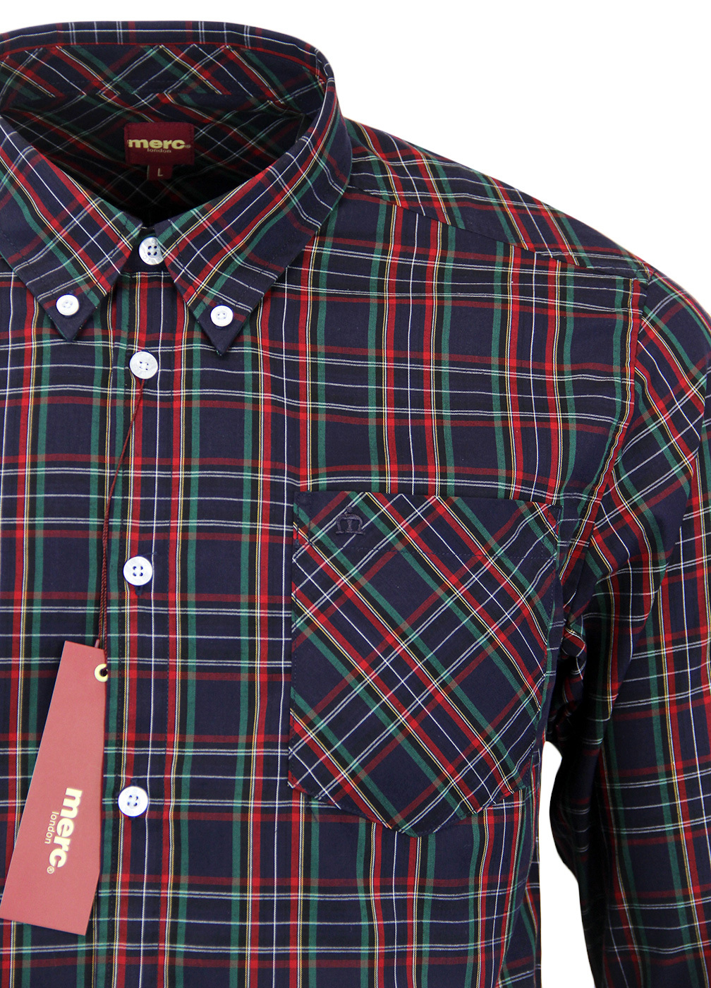 Merc Navy Neddy Cotton Long Sleeved Retro Mod Button Down Shirts