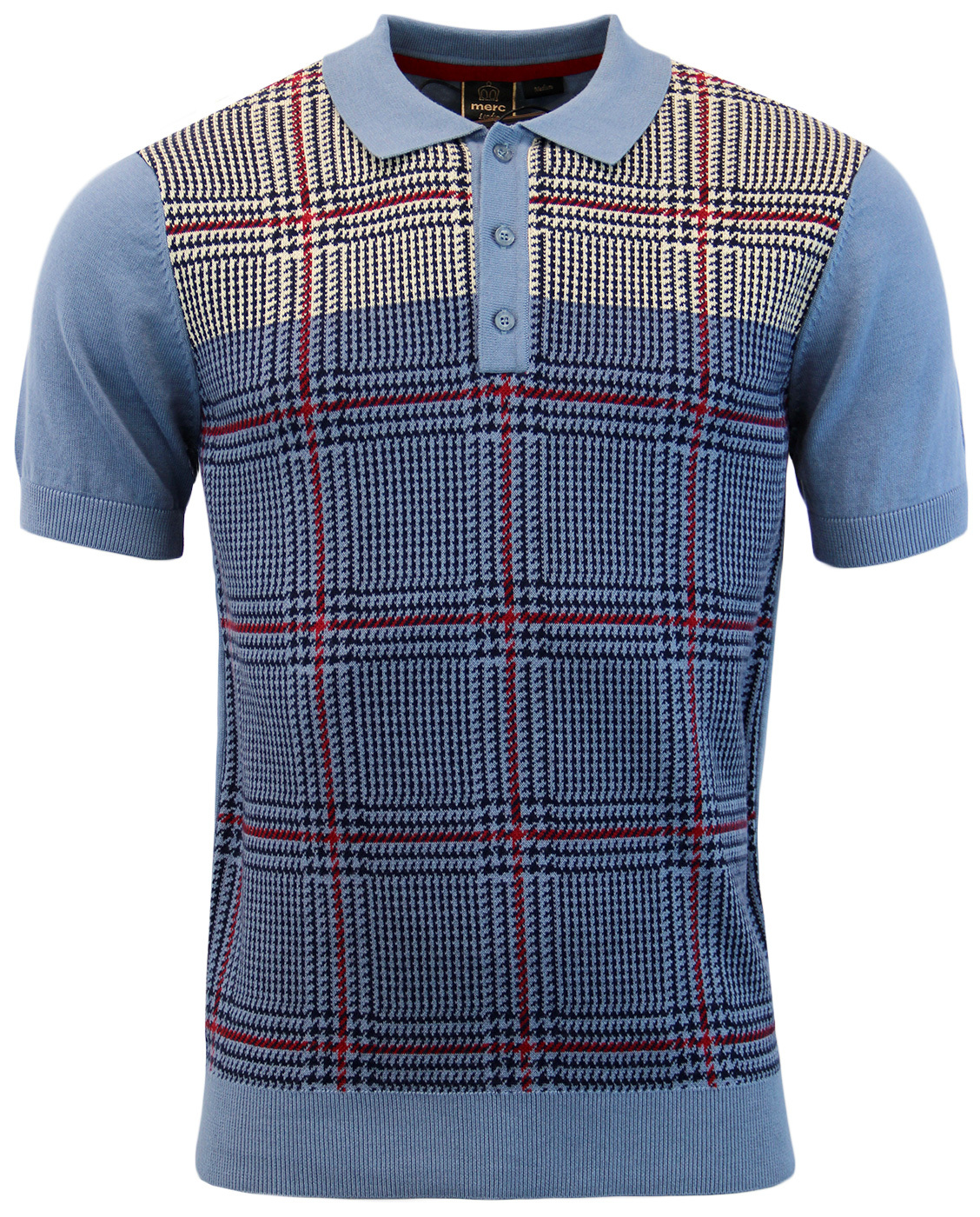 547c295afb56 MERC Tetley 1960s Prince Of Wales Check Knit Polo in Vintage Blue