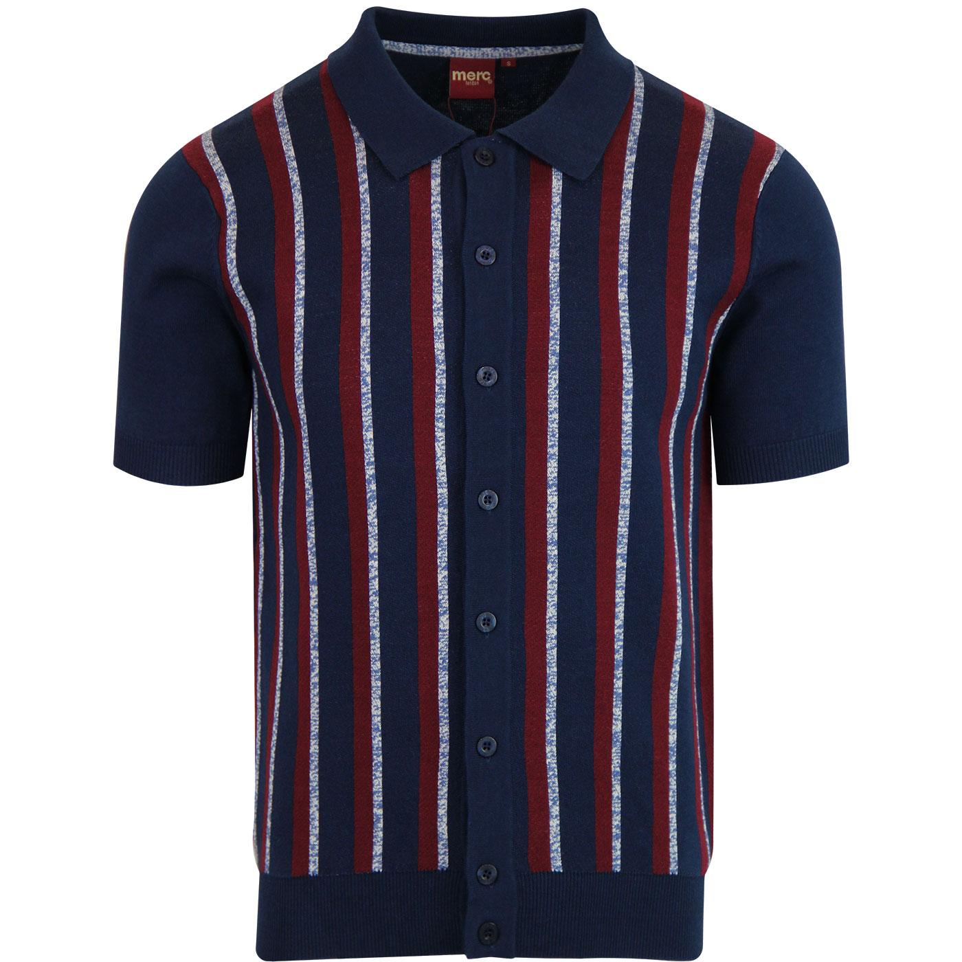 Wilmot MERC Stripe Knitted Retro Mod Polo Top NAVY