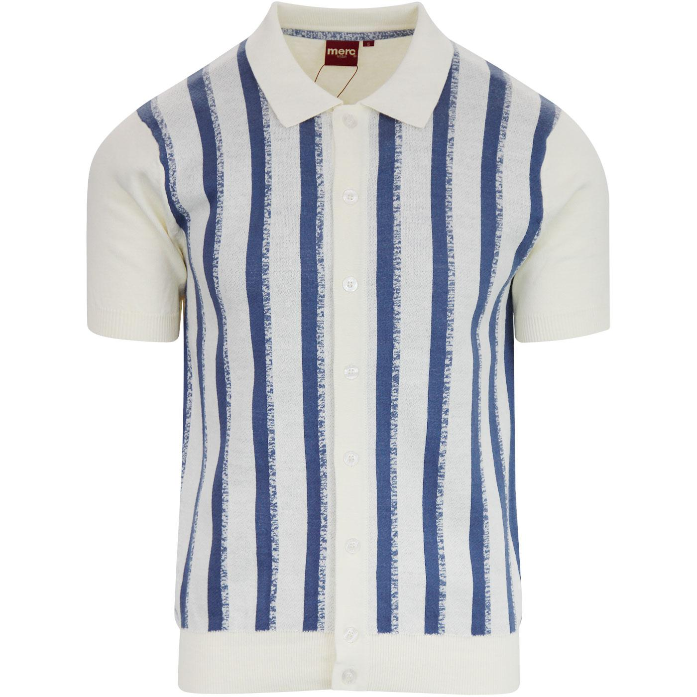 Wilmot MERC Retro Mod Stripe Knit Polo Shirt CREAM