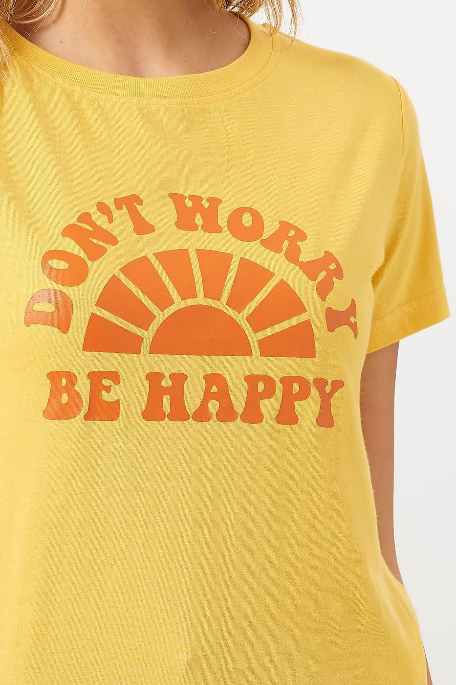 Close-up of 'Don't Worry, Be Happy' tee from Sugarhill Brighton