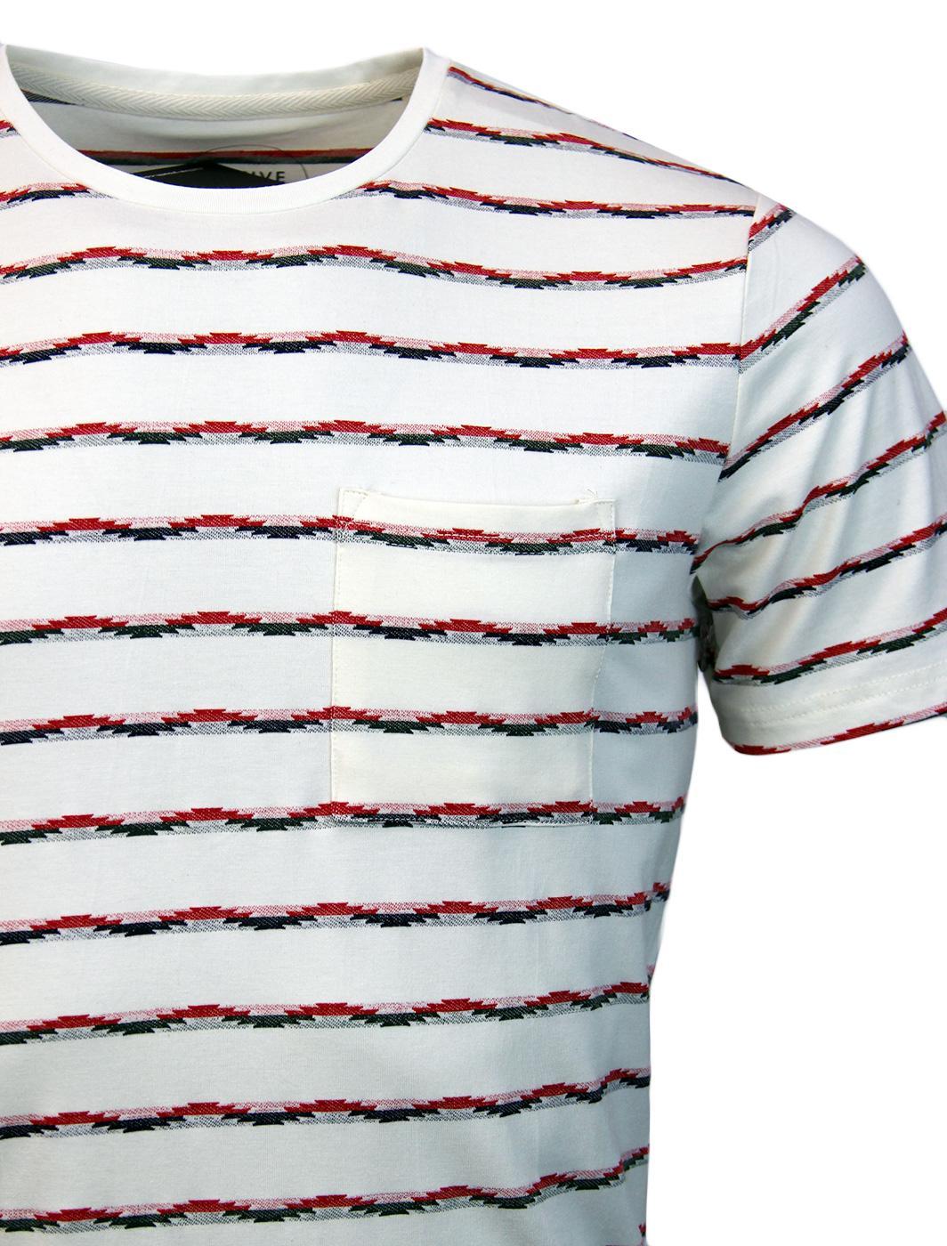 4fa20e61645 NATIVE YOUTH Retro Indie Jacquard Stripe T-Shirt in Cream