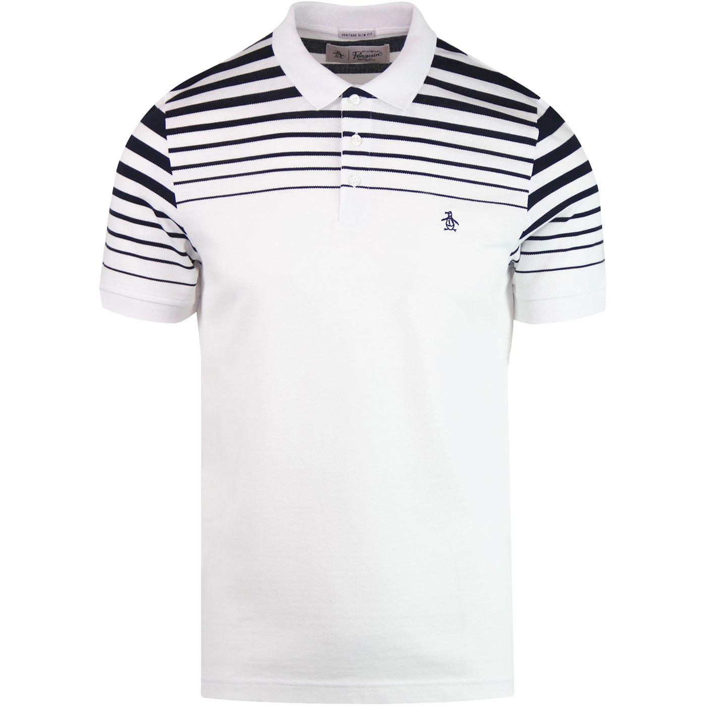 ORIGINAL PENGUIN Retro Gradient Stripe Polo WHITE