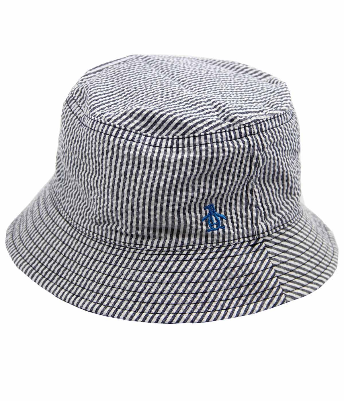 443dcd7e1 ORIGINAL PENGUIN 90s Indie Seersucker Reversible Bucket Hat Blue