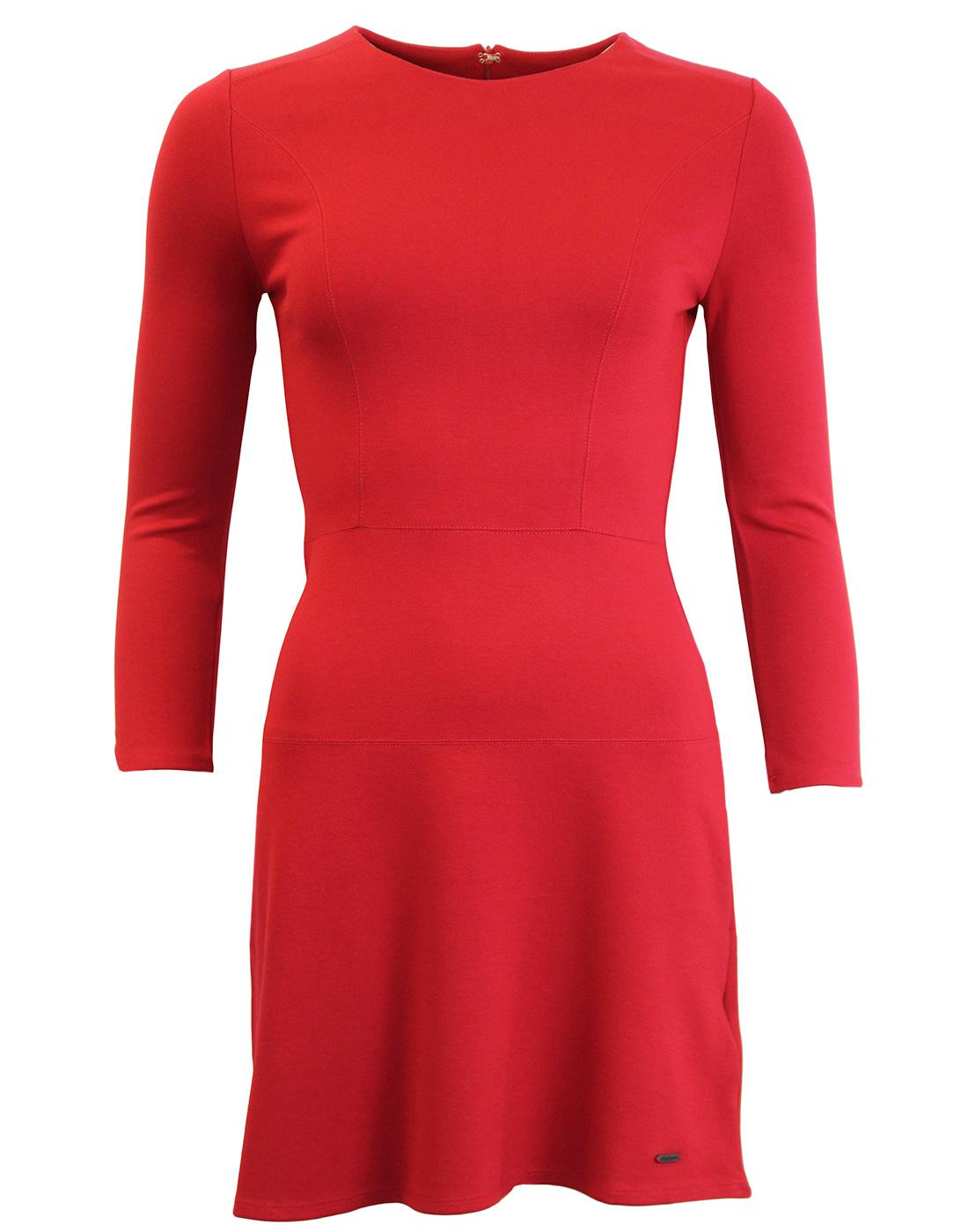 Freda PEPE JEANS Retro Mod Panel Skater Dress RED
