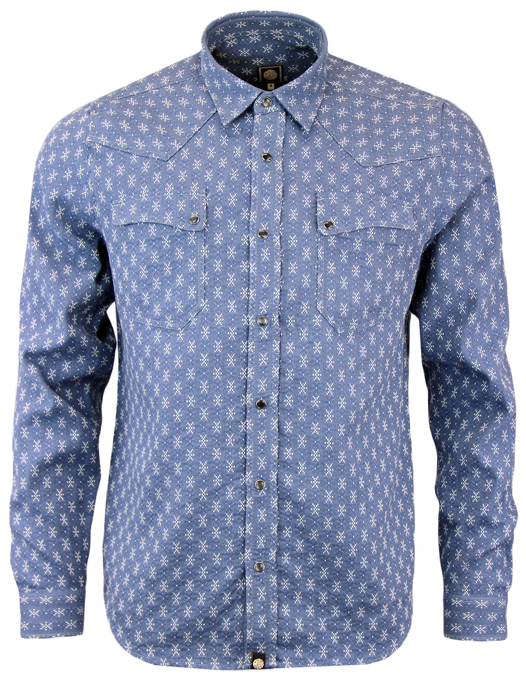 cc852060862326 PRETTY GREEN Bowers Retro Indie Mens Western Shirt in Blue
