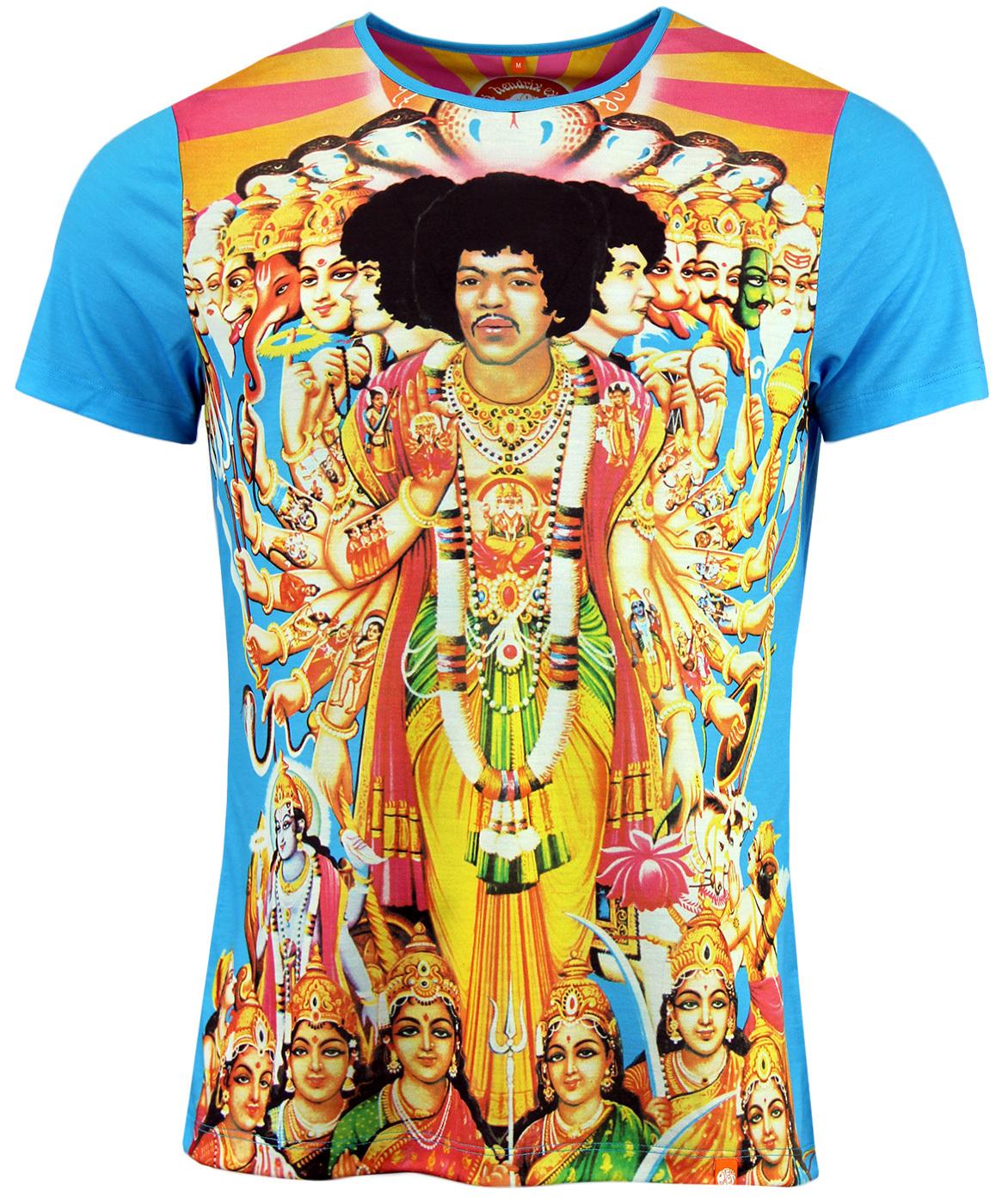 fd3c5b522de PRETTY GREEN Axis Jimi Hendrix Retro Psychedelic Tee in Blue