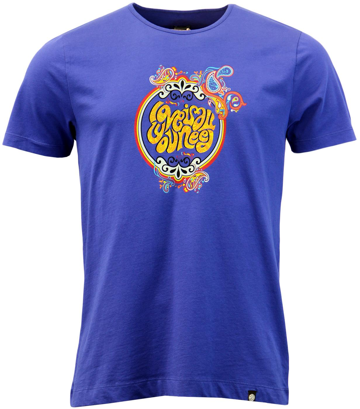 d7cda394e PRETTY GREEN Love Is All You Need Beatles 60s Mod Tee in Blue