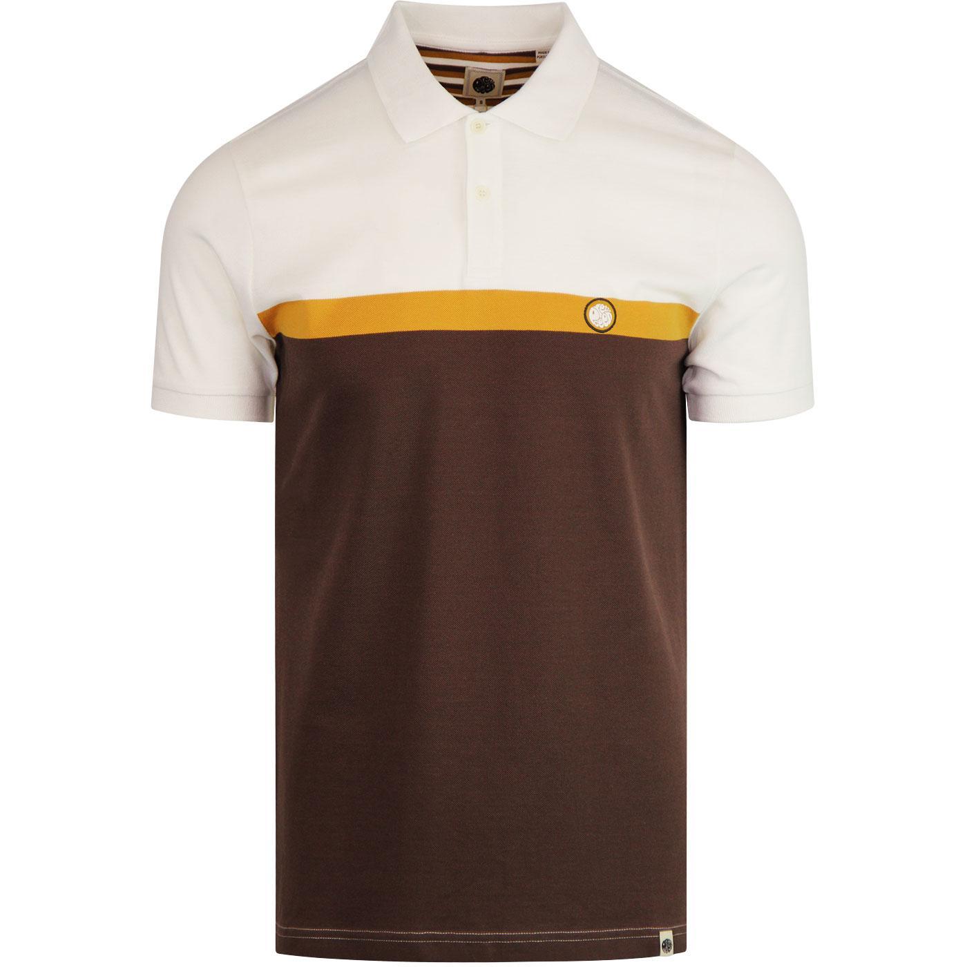 PRETTY GREEN 60s Mod Colour Block Polo Shirt BROWN
