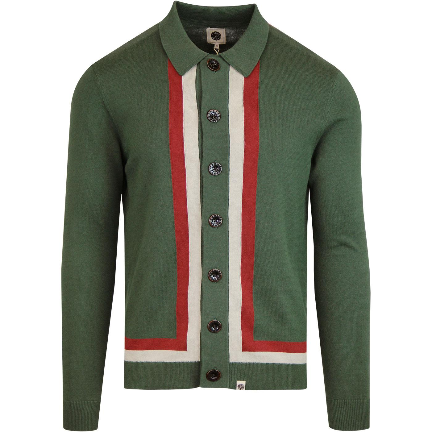 PRETTY GREEN Mod Contrast Stripe Polo Cardigan