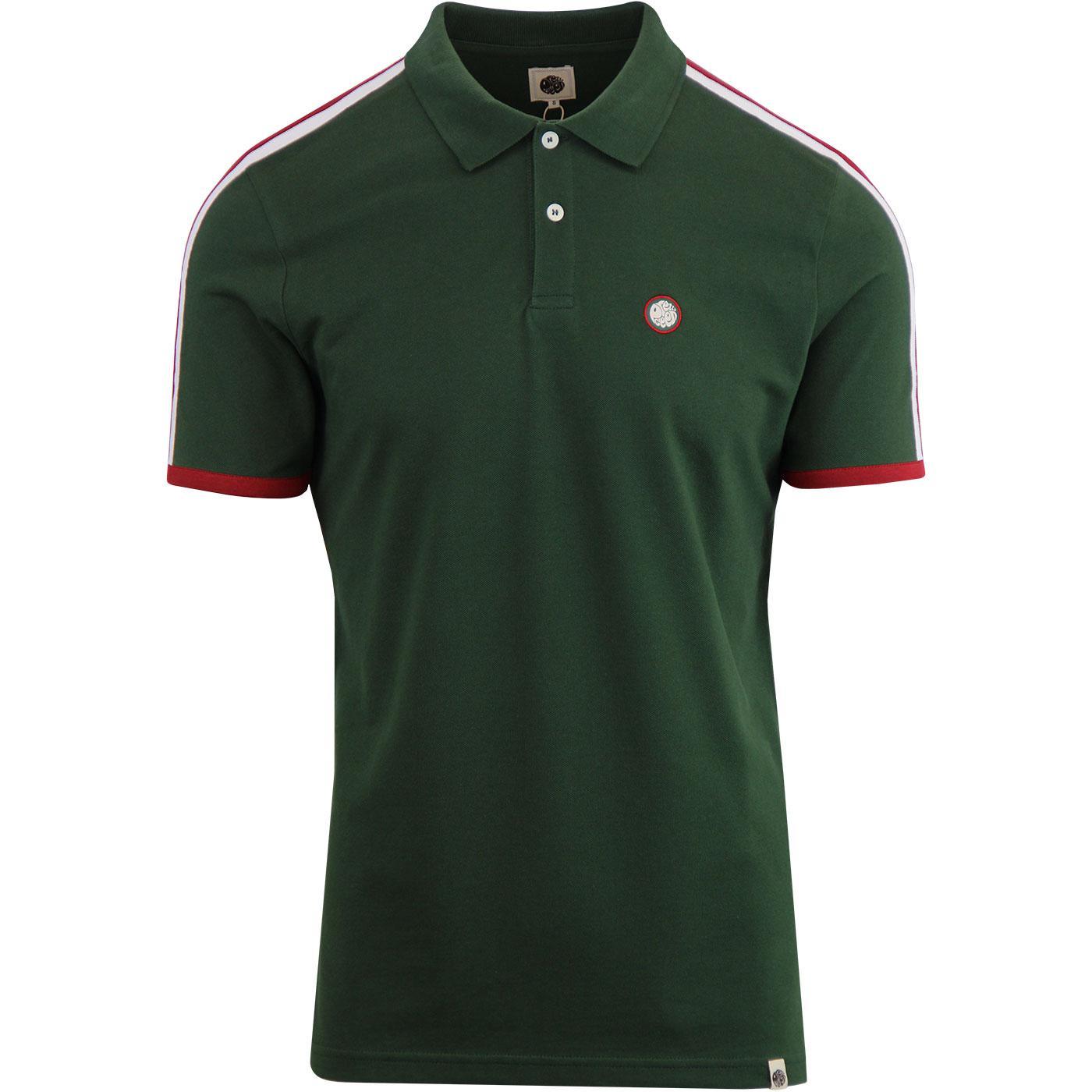 PRETTY GREEN Shoulder Stripe Pique Polo - Green