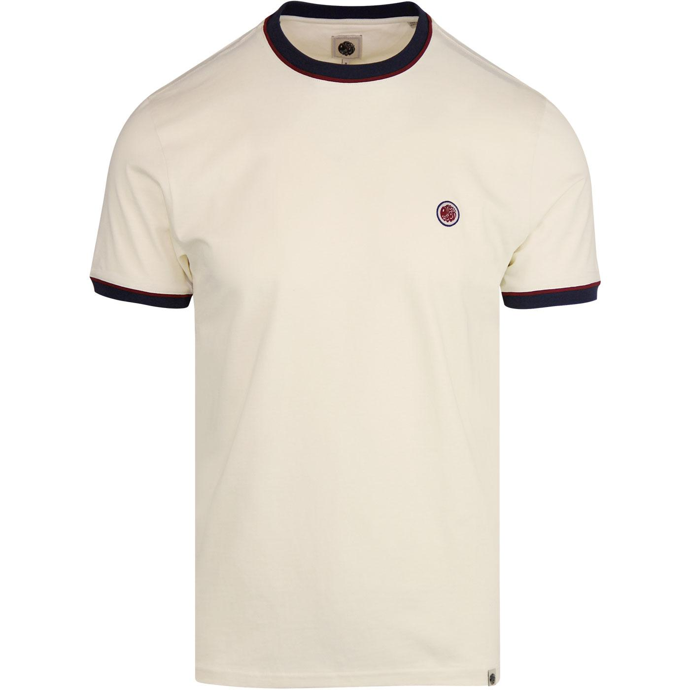 PRETTY GREEN Piping Tipped Retro T-Shirt OFF WHITE