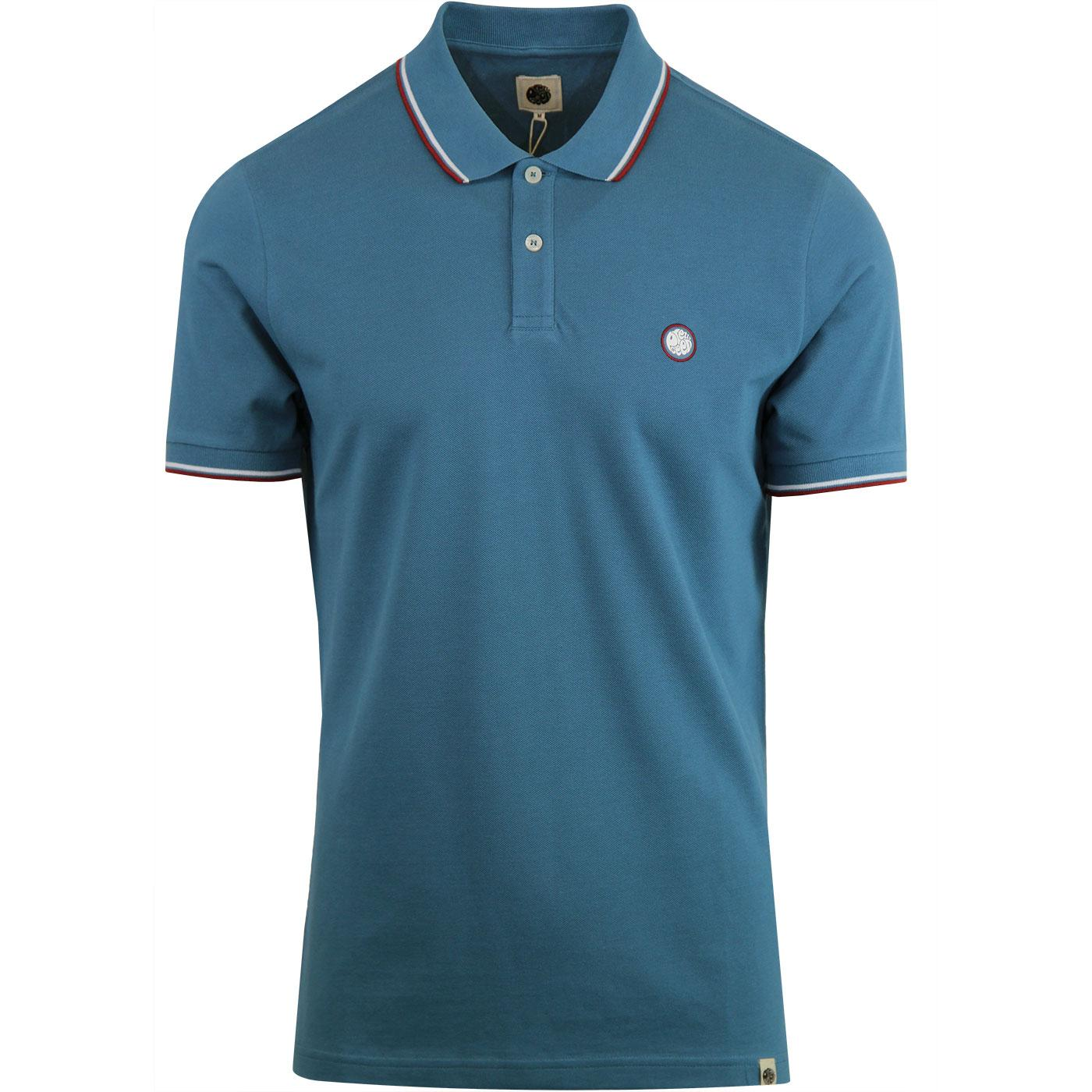 PRETTY GREEN Mod Twin Tipped Pique Polo - Blue