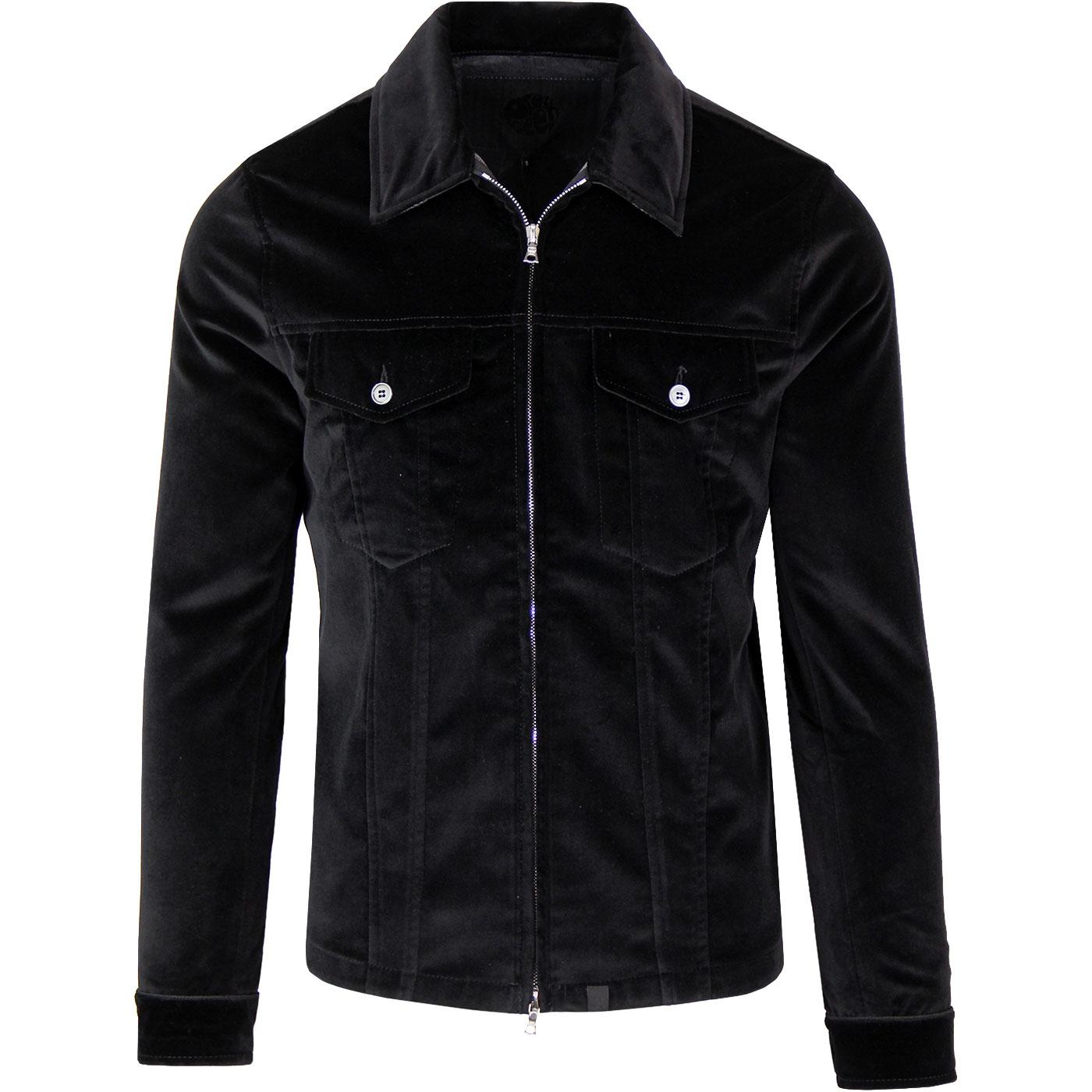 PRETTY GREEN Sixties Velvet Zip Through Jacket (B)