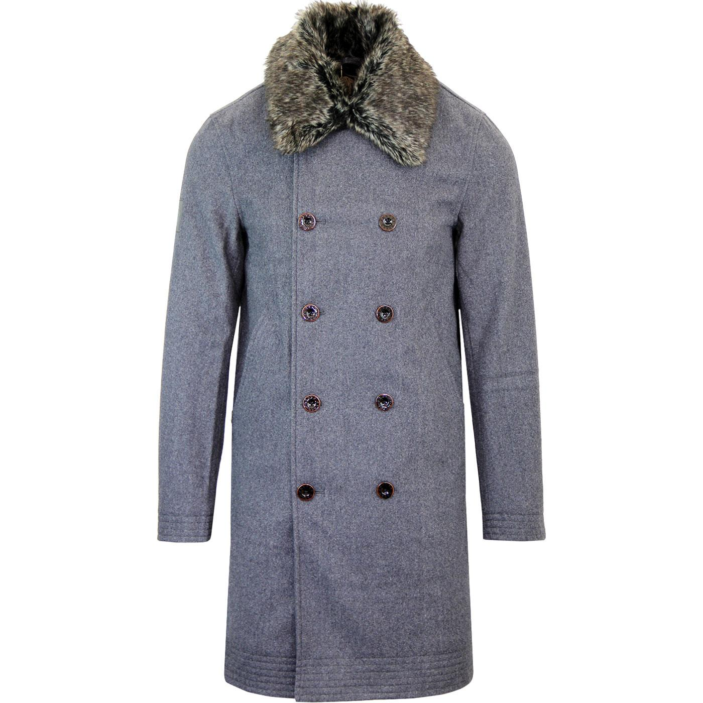 PRETTY GREEN Retro Wool Military Trench Coat GREY