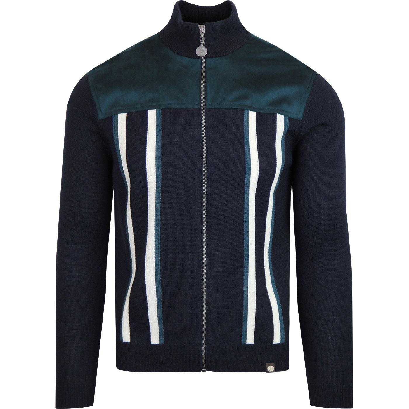 PRETTY GREEN Retro Zip Through Knitted Track Top
