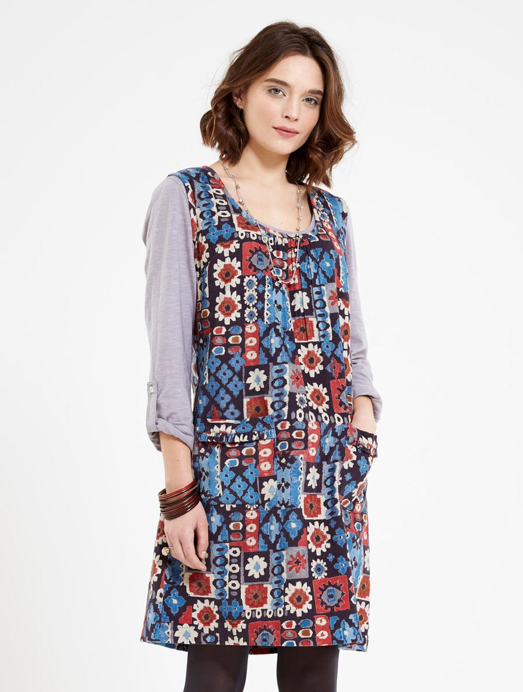 Rana NOMADS Cord Floral Mosaic Shift Dress