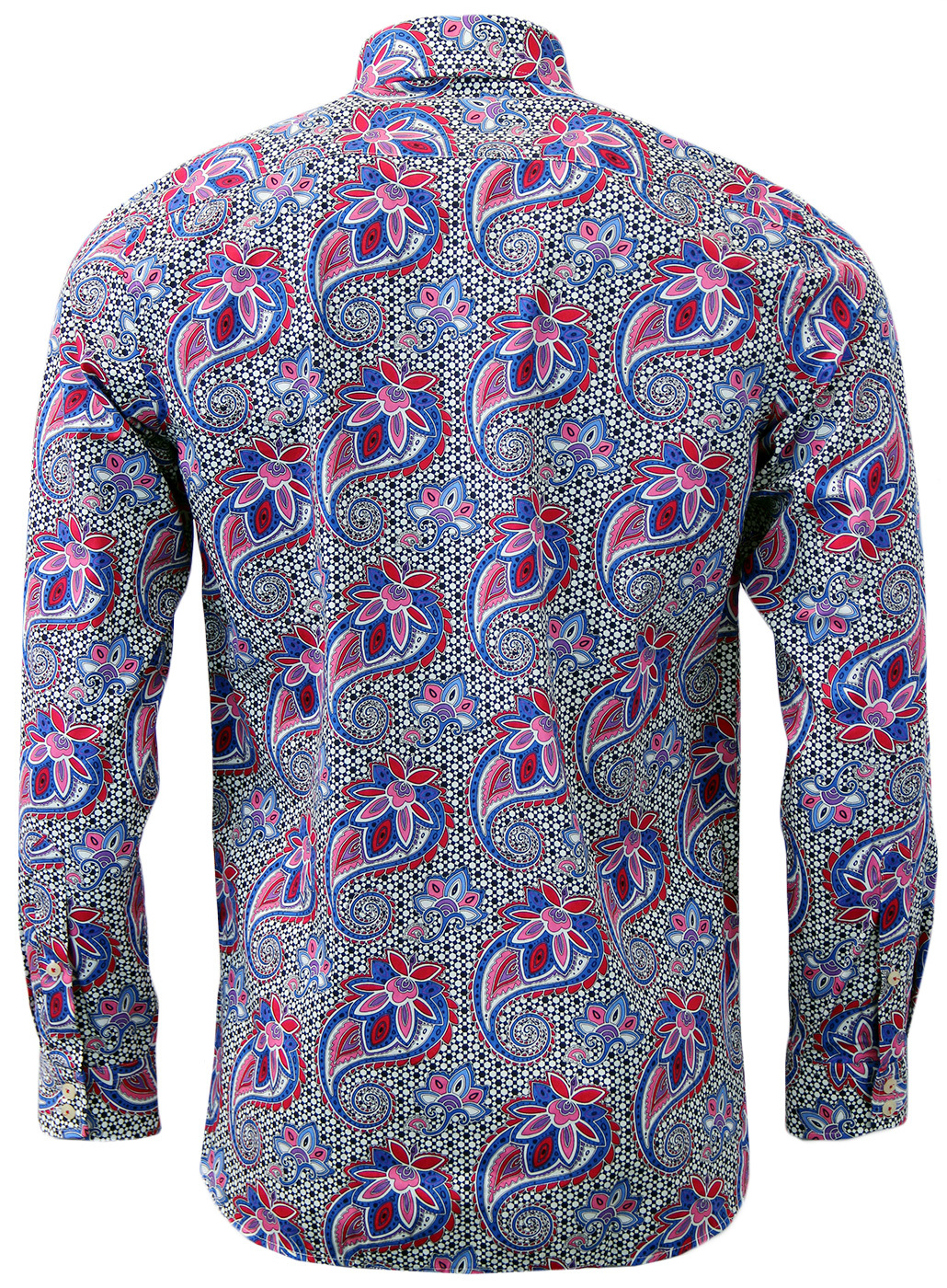 d906bd2b20c ROCOLA Retro Sixties Abstract Paisley Op Art Shirt in Blue Red