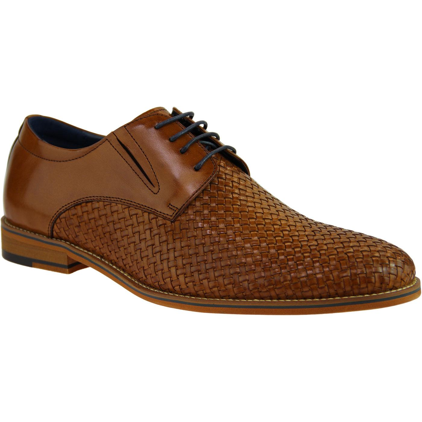 Toni SERGIO DULETTI Basket Weave Derby Shoes BROWN