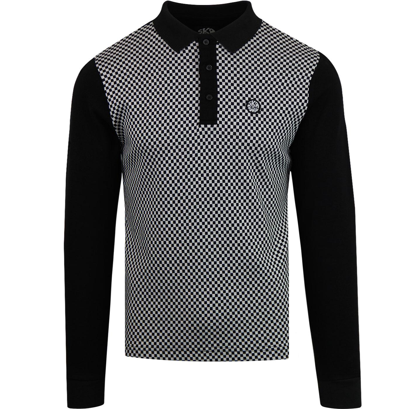 SKA & SOUL Men's Mod Checkerboard Long Sleeve Polo
