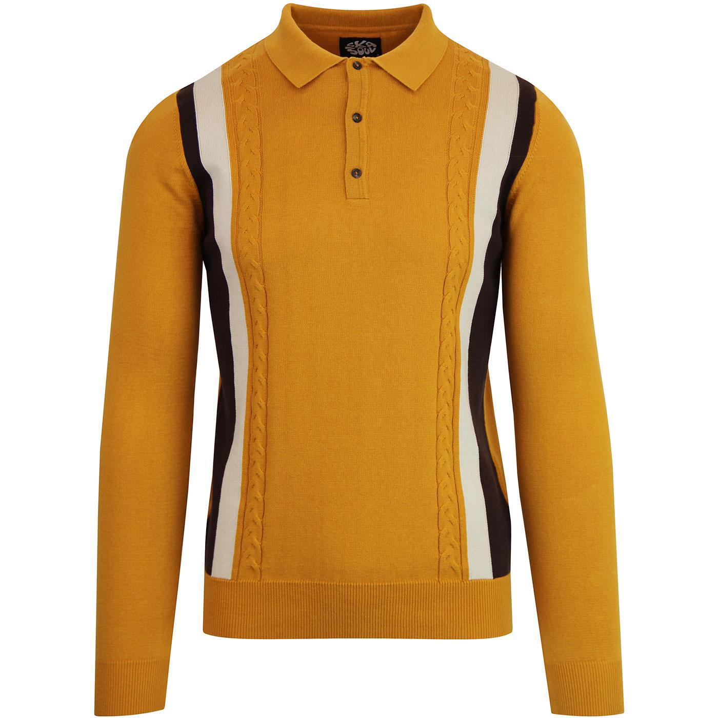 SKA & SOUL Men's Cable Stripe Knitted Polo GOLD