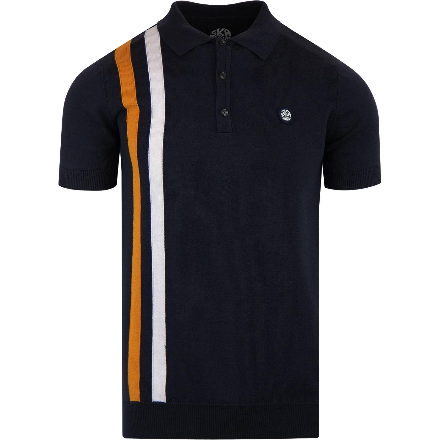 SKA & SOUL Racing Stripe Mod Knitted Polo Navy