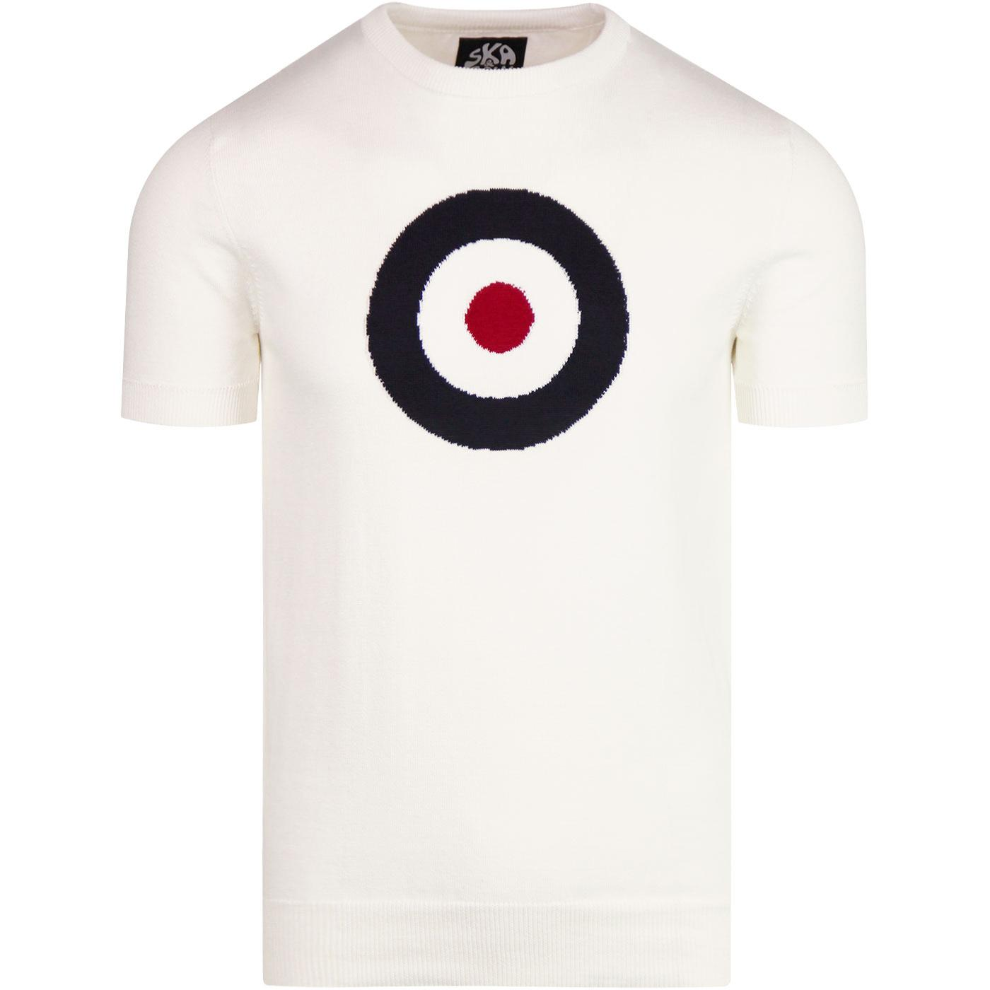 SKA & SOUL Mod Target Retro Knitted T-shirt (Ecru)