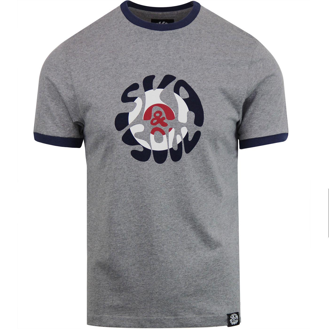 SKA & SOUL 60's Mod Target Logo Ringer Tee - Grey