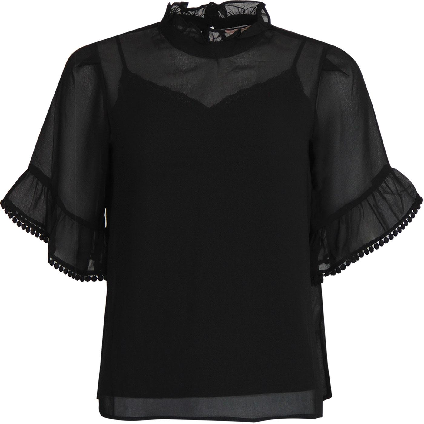 Bobble Top TRAFFIC PEOPLE Retro Sheer Top in Black