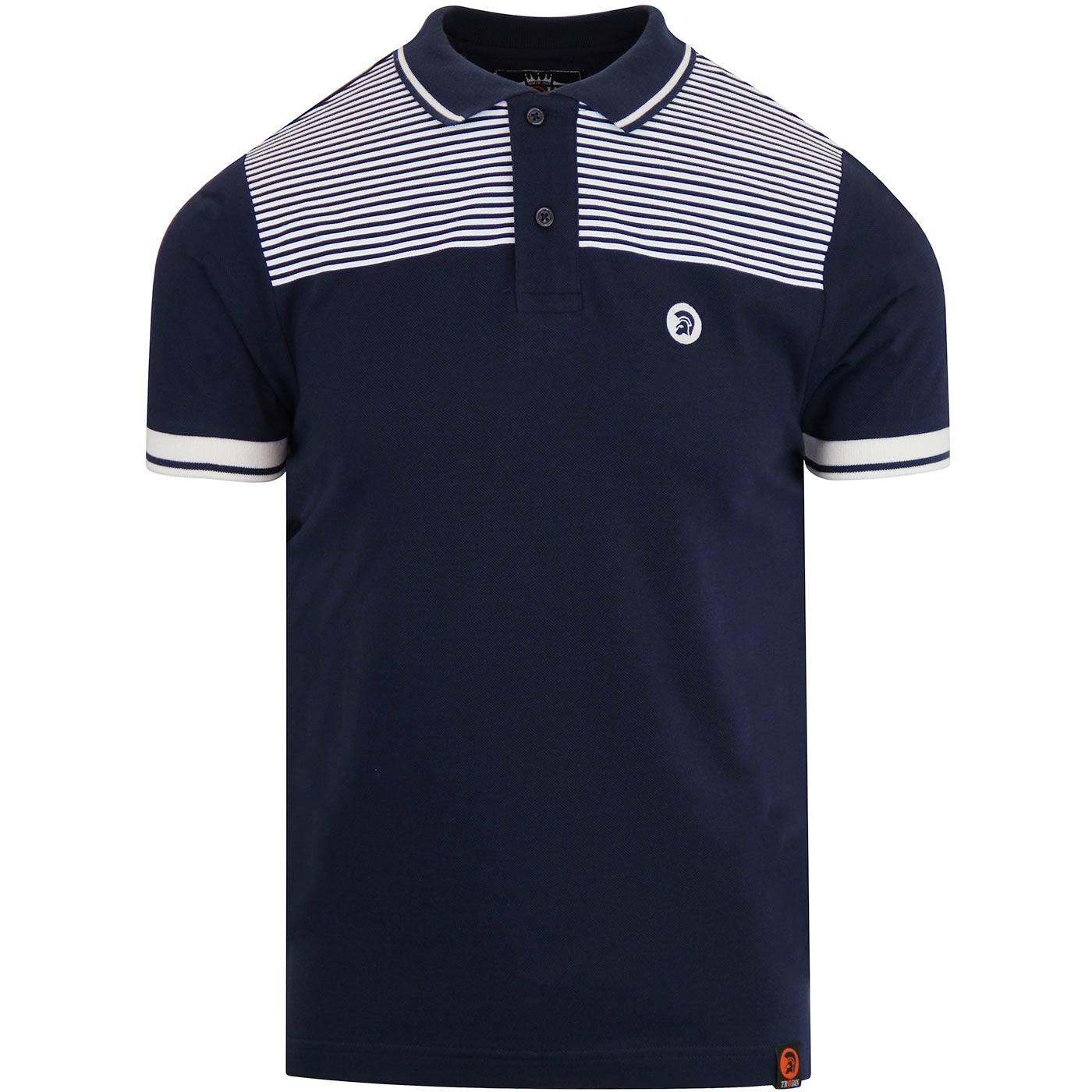 TROJAN RECORDS Men's Border Stripe Pique Polo NAVY