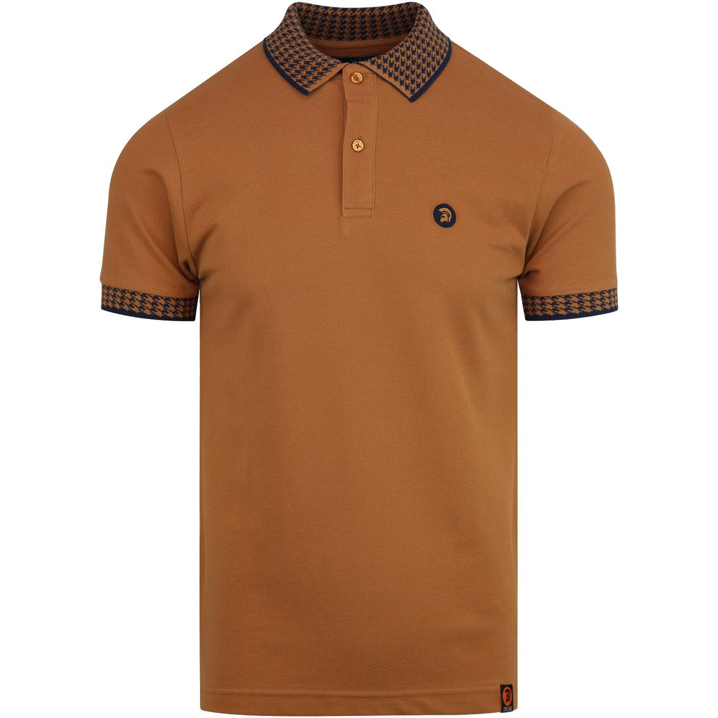 TROJAN RECORDS Houndstooth Trim Mod Polo Shirt GT