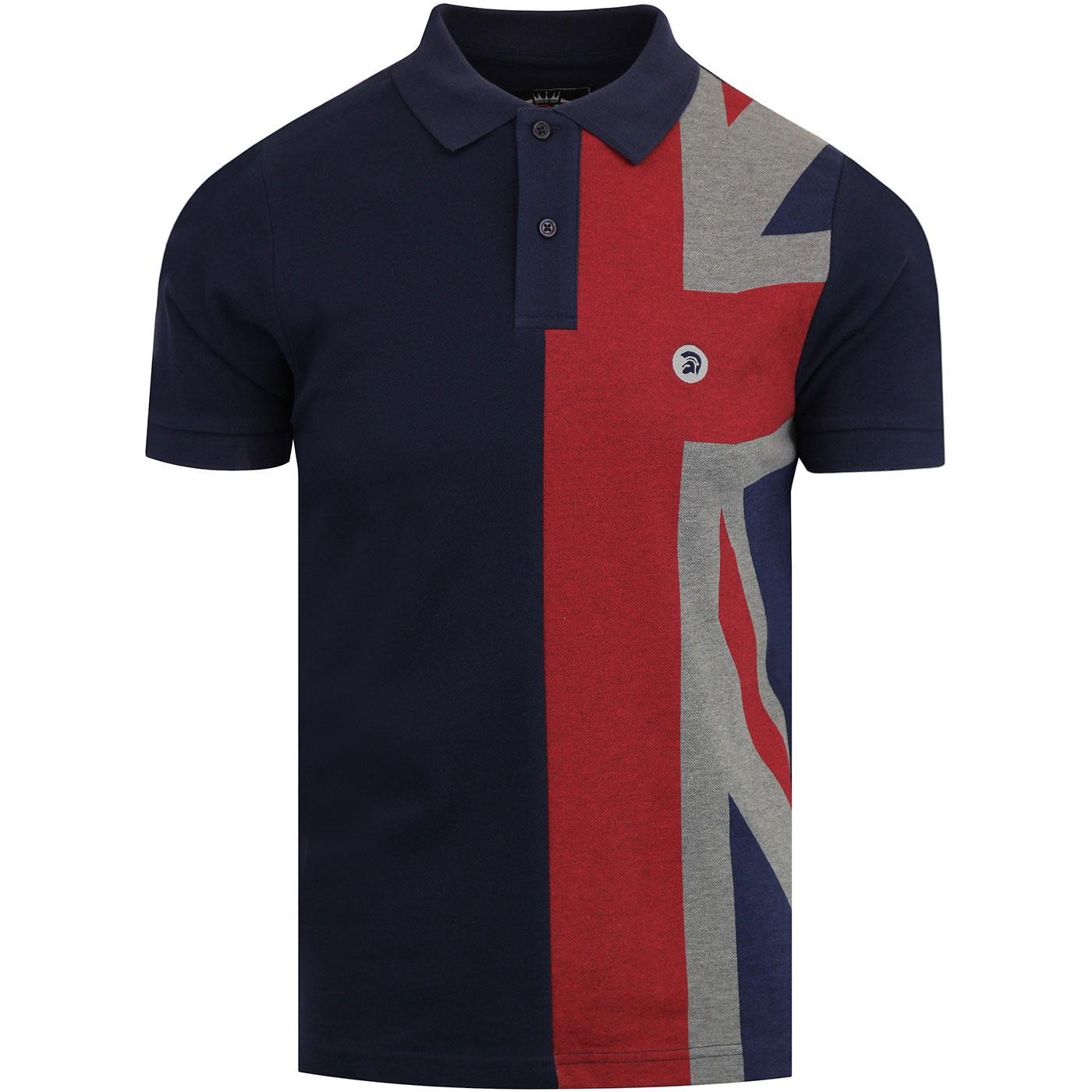 TROJAN RECORDS Union Jack Panel Pique Polo - Navy