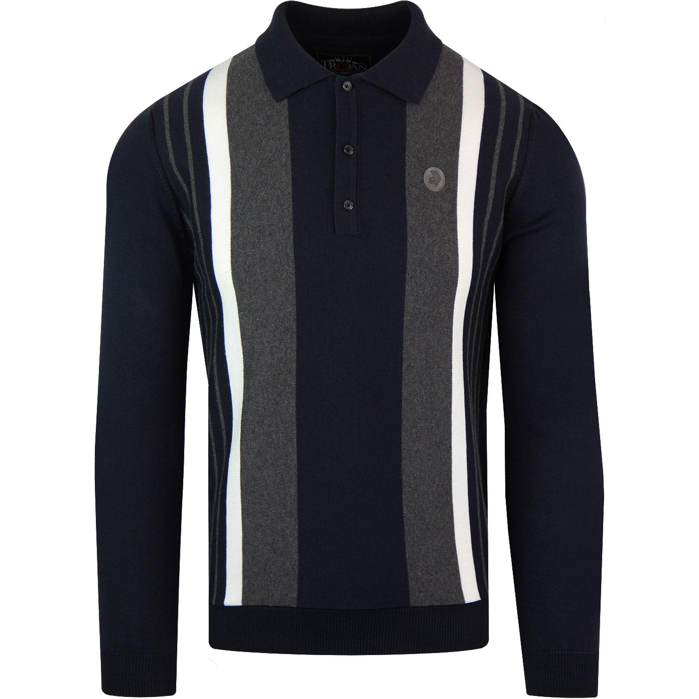 TROJAN RECORDS Mod Knitted Stripe Panel Polo -Navy