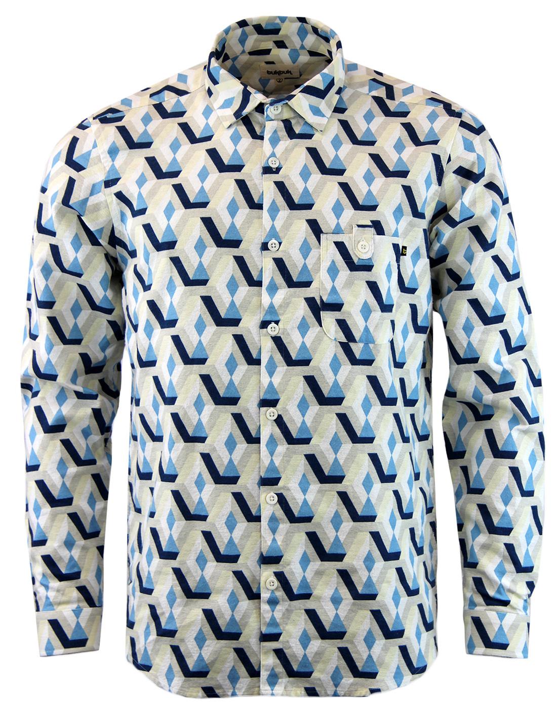 TUKTUK Retro 1970s Vivid Psychedelic Op Art Shirt
