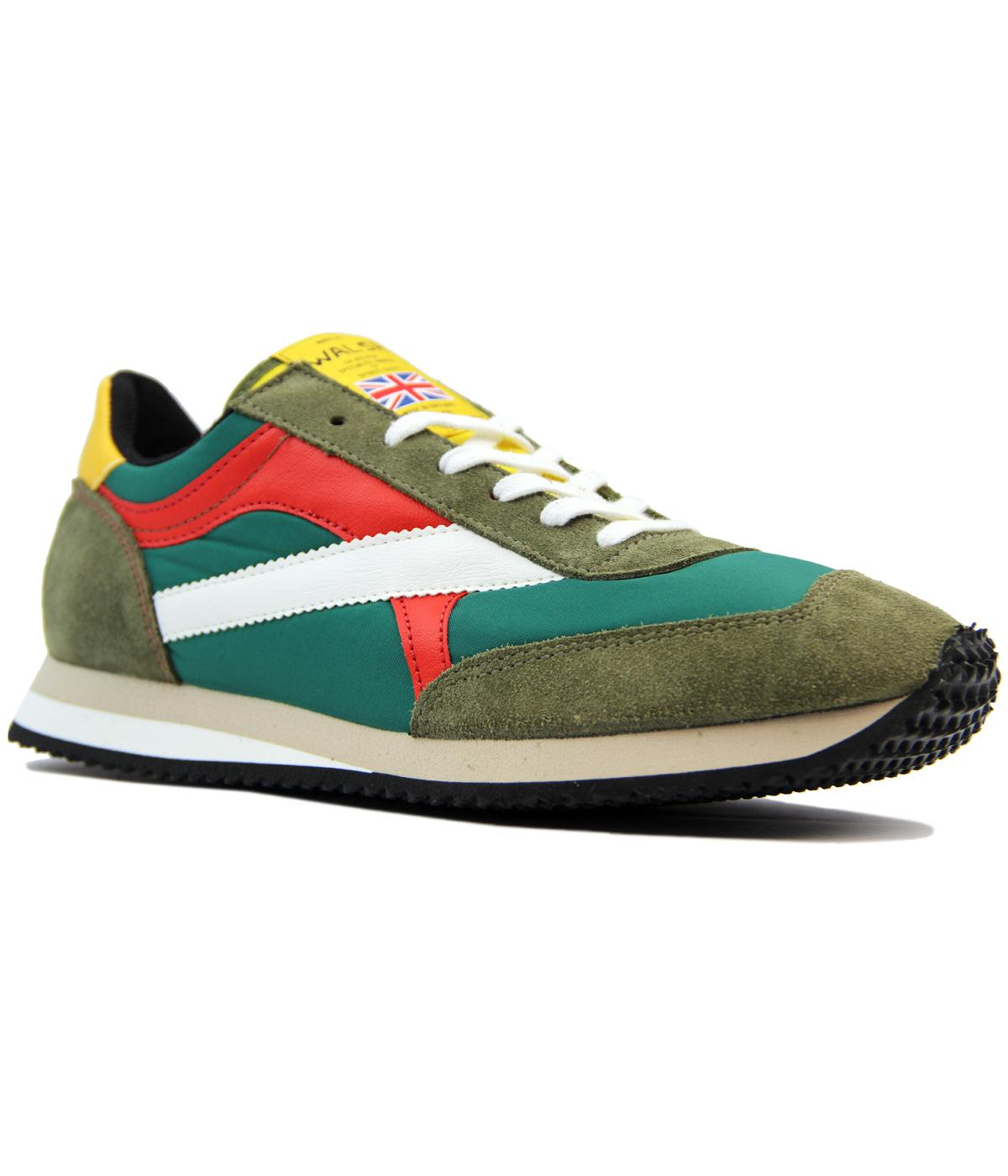 WALSH Tornado Made In England Retro 80s Trainers in Green Yellow e6fcff864a83
