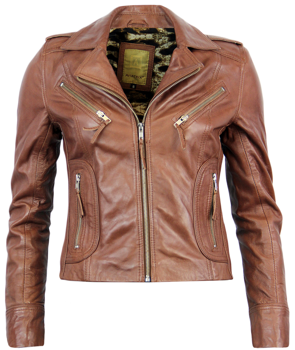 Womens Retro 1970s Vintage Leather Biker Jacket