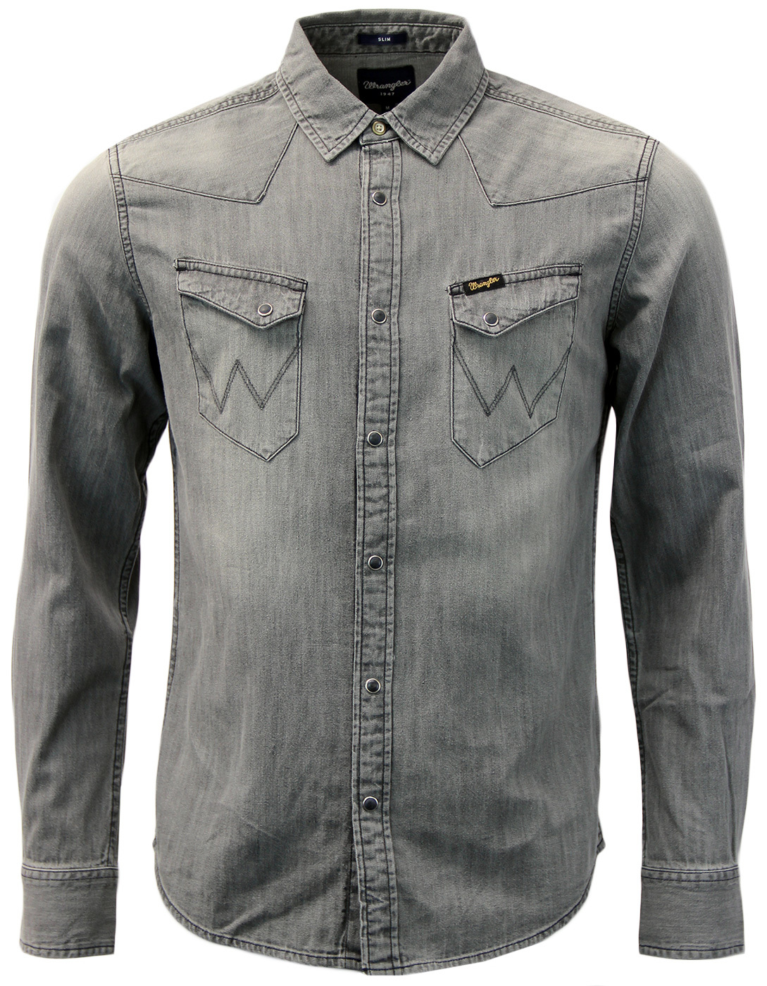 ed13527d16 WRANGLER City Western 70s Indie Mens Denim Shirt in Wash Out Grey