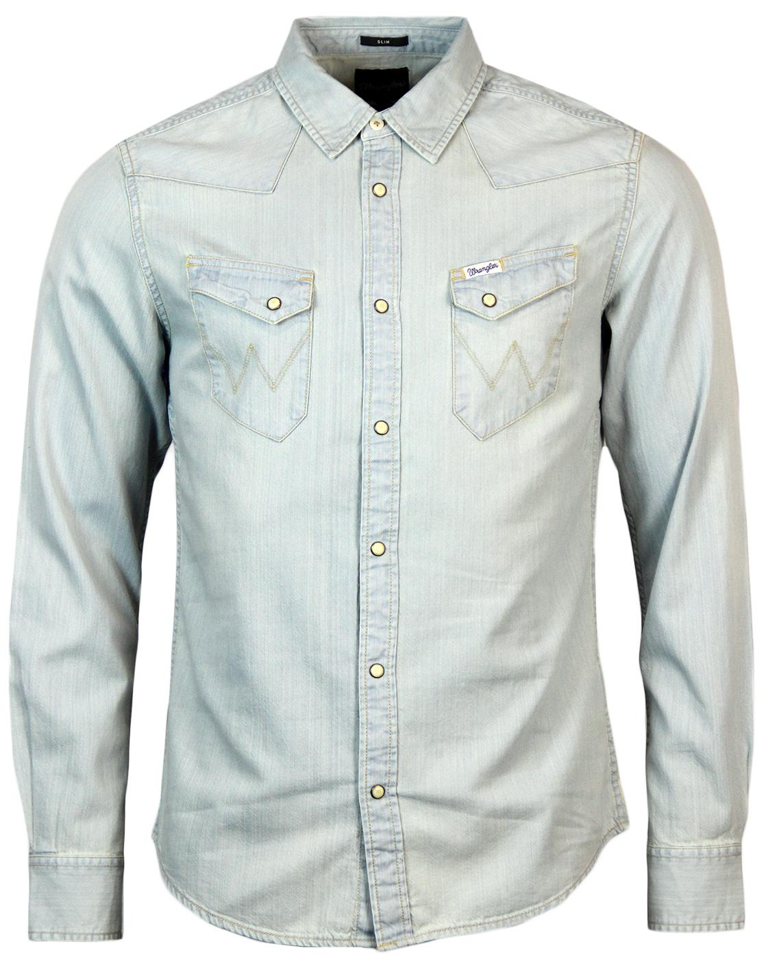 4b60189885 WRANGLER City Western Retro Seventies Denim Shirt in Super Bleach