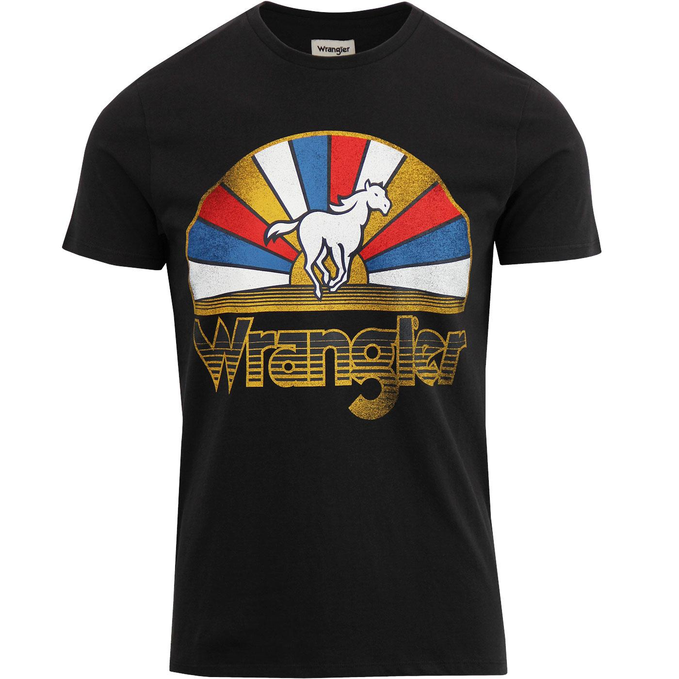 WRANGLER Retro 70's Horse Logo Tee - Faded Black