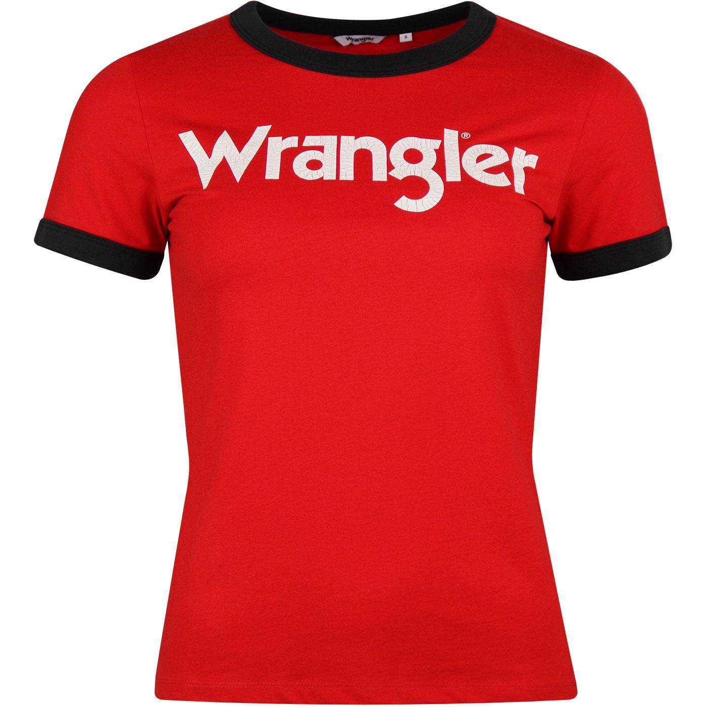 WRANGLER Women's Retro 70s Logo Ringer T-shirt RED