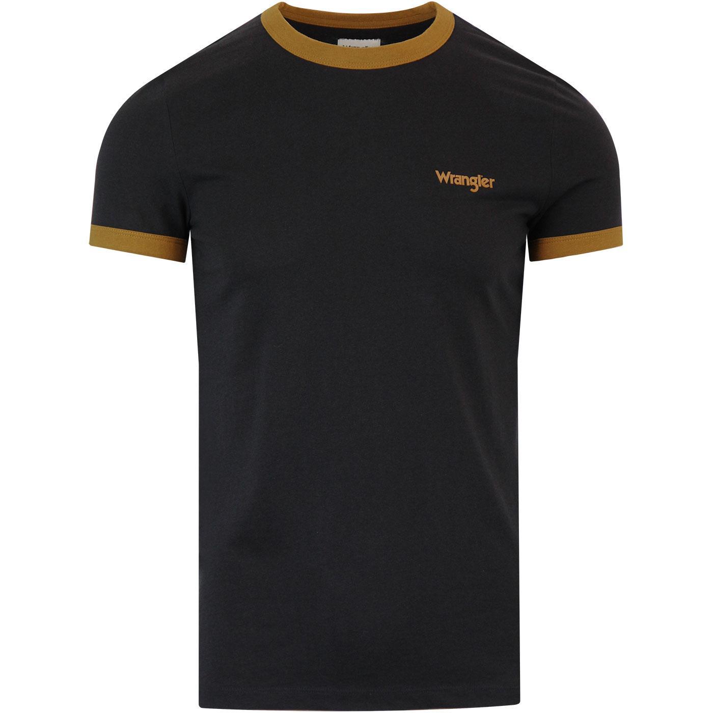 WRANGLER Retro 1970s Indie Ringer T-shirt (Black)